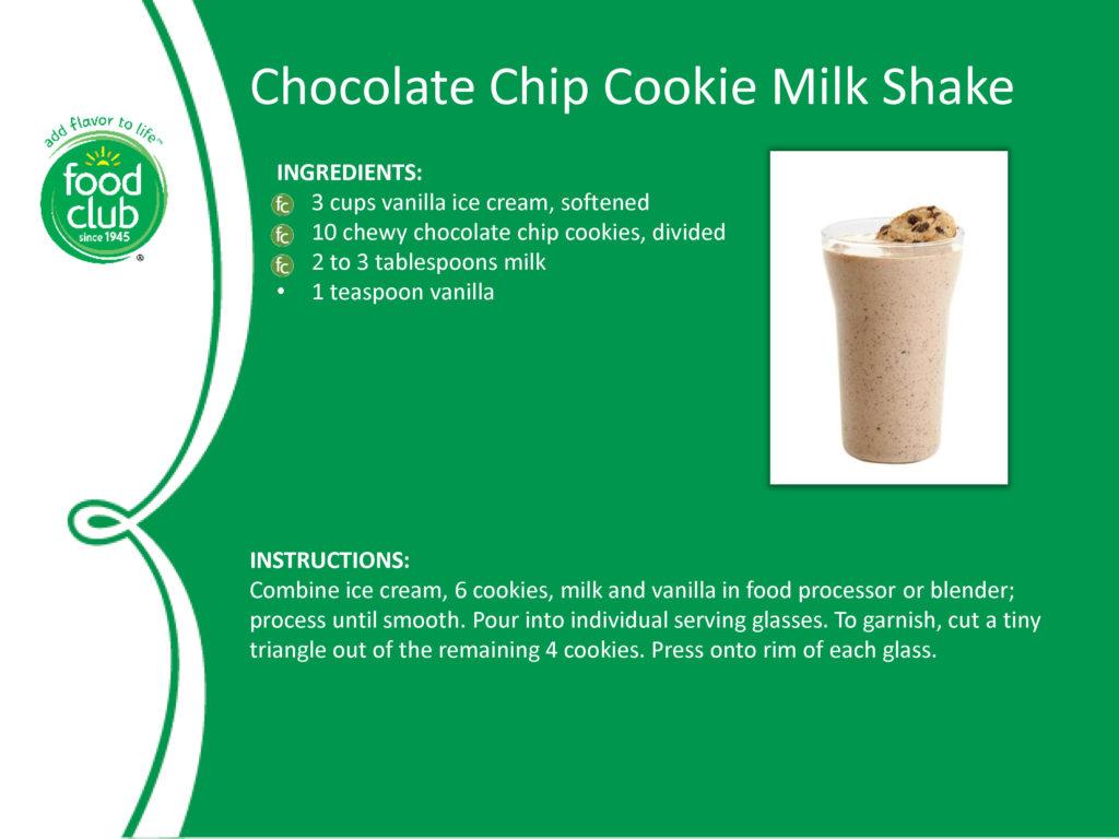 Chocolate Chip Cookie Milk Shake Recipe