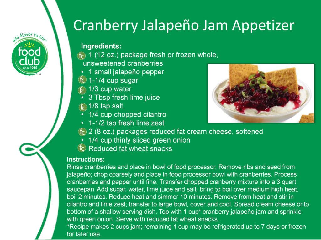 Cranberry Japaleño Jam Appetizer Recipe