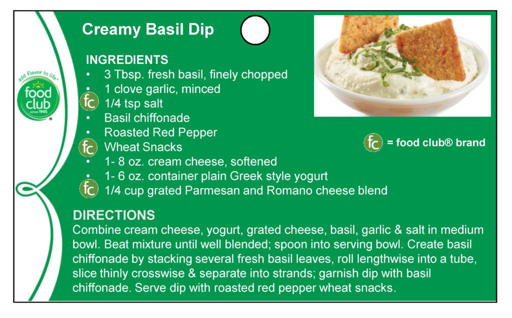 Creamy Basil Dip Recipe