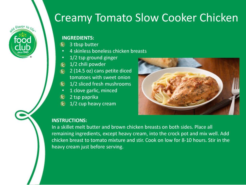 Creamy Tomato Slow Cooker Chicken Recipe