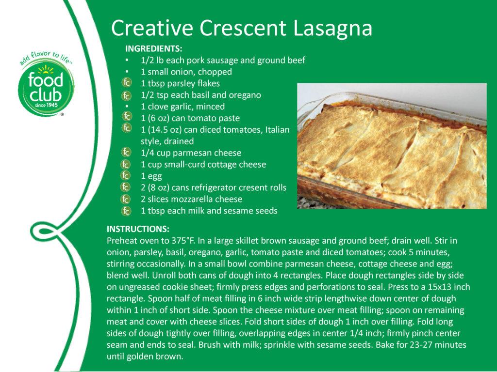 Creative Crescent Lasagna Recipe