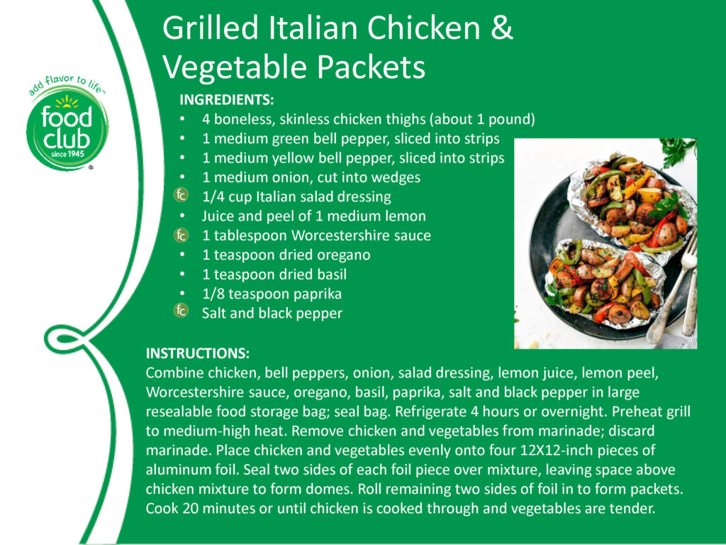 Grilled Italian Chicken And Vegetable Packets Recipe