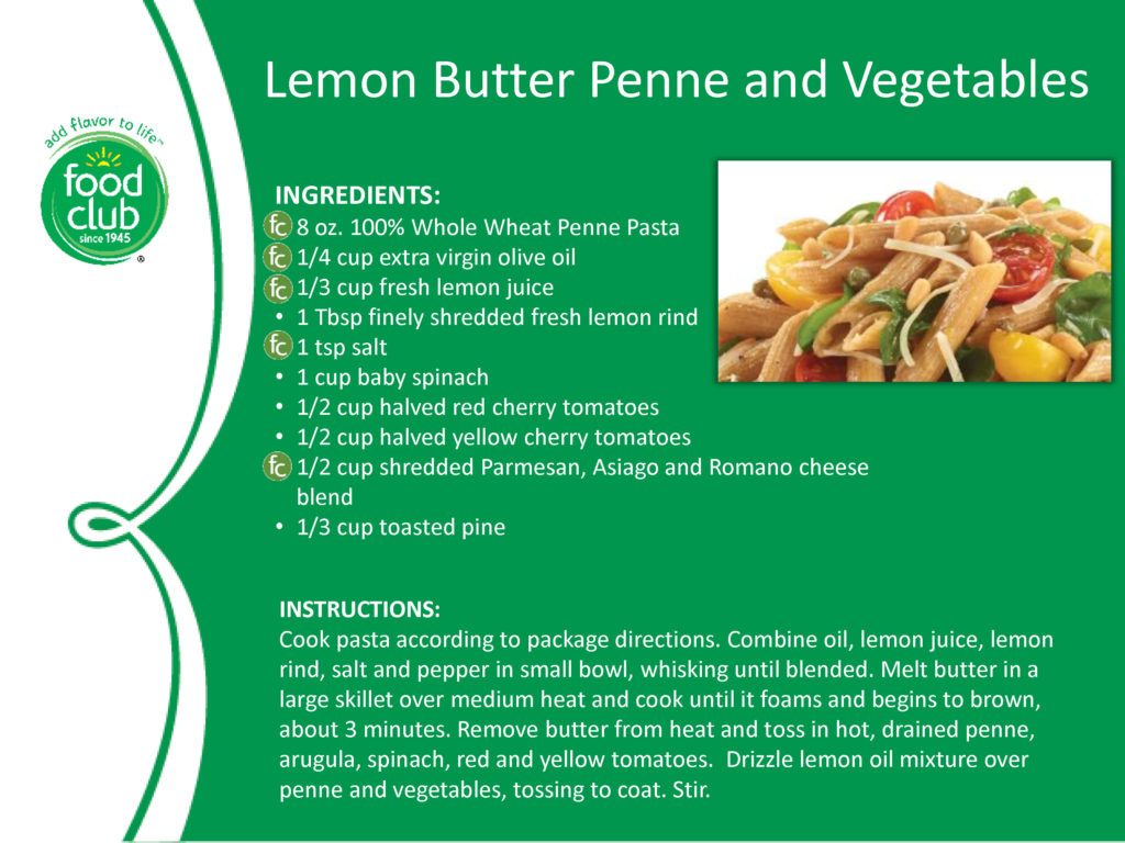 Lemon Butter Penne And Vegetables Recipe