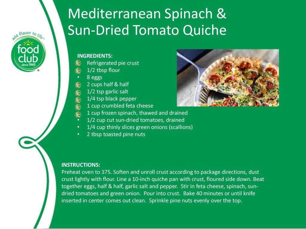 Spinach & Sun-Dried Tomato Quiche Recipe