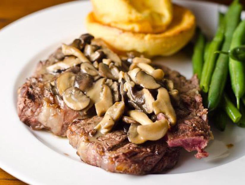 Grilled Porterhouse Steak With Onions & Mushrooms
